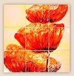 Orange Poppy Hand Painted Tiles