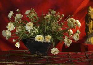 White Rose Silk Floral Arrangement