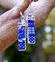Blue Willow Rectangle Earrings