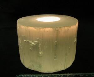 Flat Cut Selenite Candle Holder