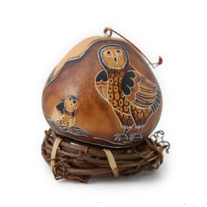 Gourd Ornament -- Owl with Mountains