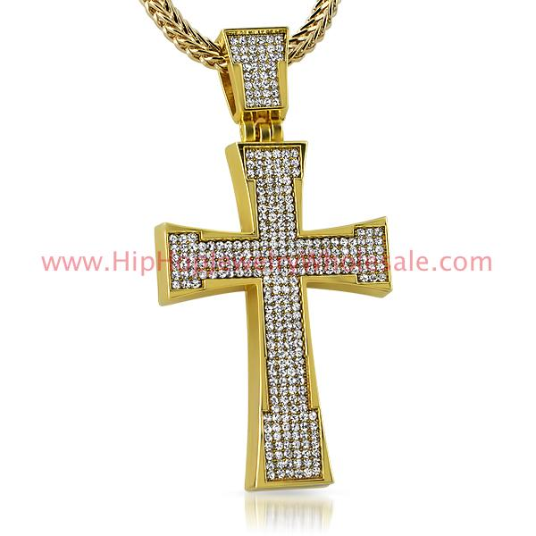 Gold Bling Cross Pendant