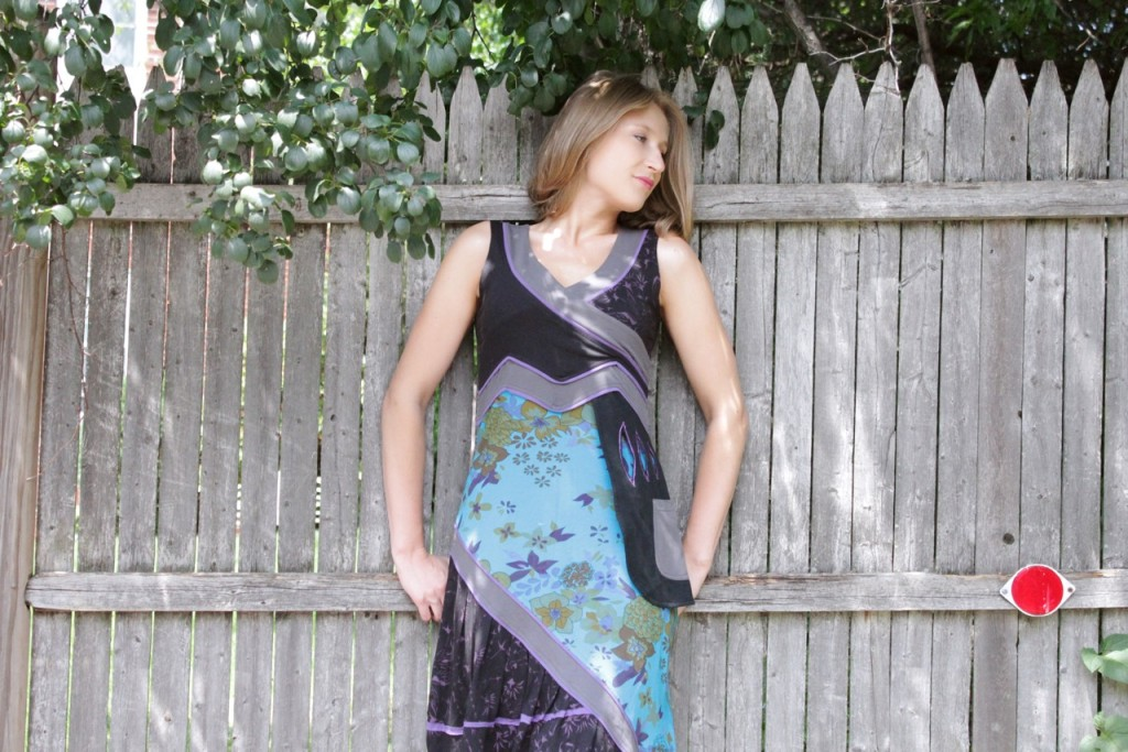 Black/Blue Faux Wrap Cotton Dress