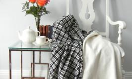Black & White Wool Throw Blanket