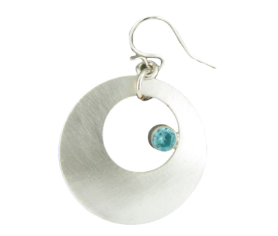 Colored Cubic Zirconia Disc Earring