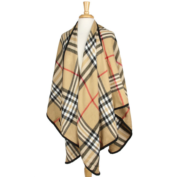 Beige Plaid Cape