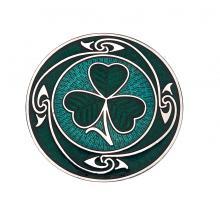 Enamel Celtic Shamrock Coils Brooch