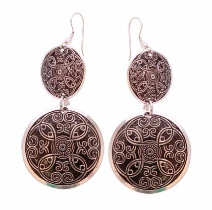 Handmade Silver & Black Hanging Earrings