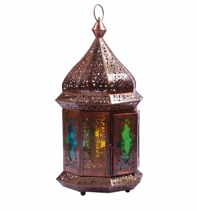 Iron Hanging Lantern in Copper Finish