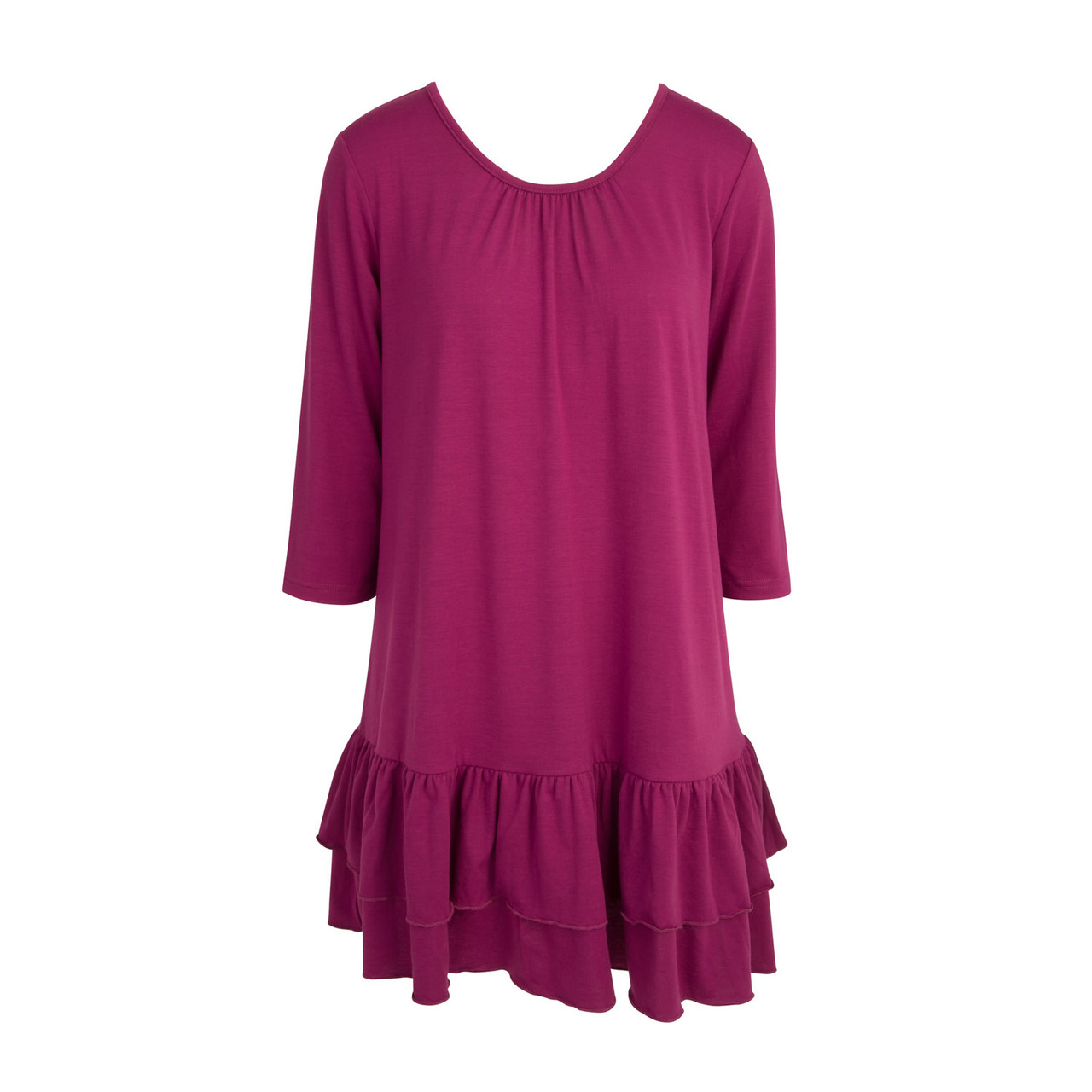 Double Ruffle Tunic Dress - Fuchsia