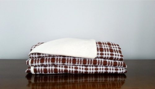 Dark Red & White Wool Throw Blanket